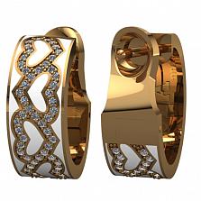 Золотые серьги Вечное чувство с бриллиантами и эмалью