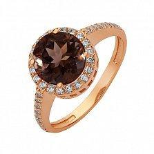 Золотое кольцо Делорис с раухтопазом и фианитами