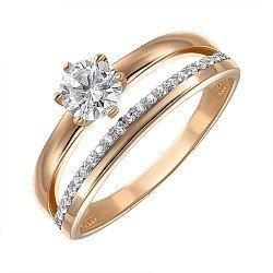 Кольцо из красного золота с фианитами 000147001