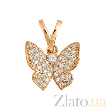 Подвес в красном золоте Парящая бабочка с фианитами SVA--3190016101/Фианит/Цирконий