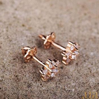 Золотые серьги-пуссеты с фианитами Цветочки ONX--с01233