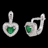 Серебряные сережки с зеленым цирконием Mon Amour