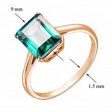 Кольцо из красного золота с синтезированным зеленым турмалином 000128960