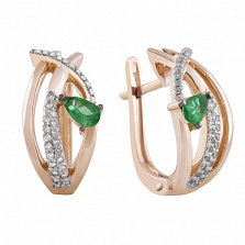 Золотые серьги Аура с бриллиантами и изумрудами