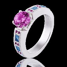 Эксклюзивное женское кольцо Виктория с аметистами и топазами
