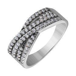 Серебряное кольцо Пресечение с белыми фианитами