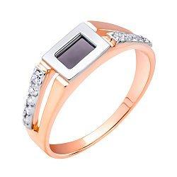 Золотой перстень-печатка в комбинированном цвете с ониксом и фианитами 000104212