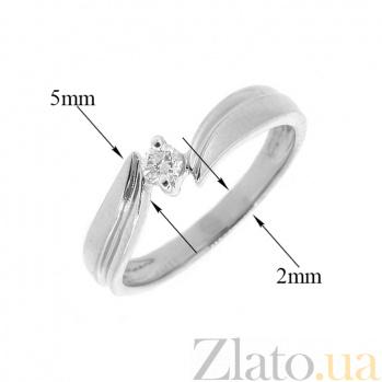 Золотое кольцо в белом цвете с бриллиантом Ратна 000021514