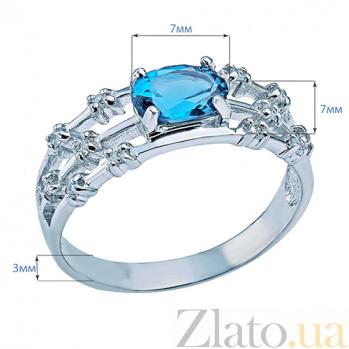 Серебряное кольцо с лондон топазом и фианитами Марлен 000027188