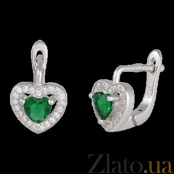 Серебряные сережки Love you с зеленым и белым цирконием SLX--СК2ФИ/474