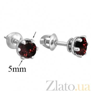 Серебряные серьги-пуссеты с гранатами Лея 2090/9р гран4