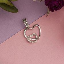 Серебряный кулон Двойное сердце с кристаллами циркония
