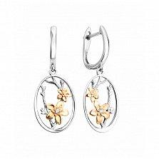 Серебряные серьги-подвески Цветущая ветка с белыми фианитами, позолотой и родием