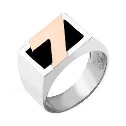 Серебряный перстень-печатка с золотой накладкой, имитацией оникса и родированием 000125645
