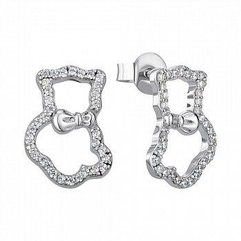 Серебряные серьги-пуссеты с фианитами 000144858