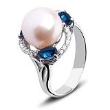 Серебряное кольцо с жемчужиной и сапфирами Калейдоскоп