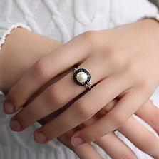 Серебряное кольцо Прованс с белым жемчугом и черными фианитами