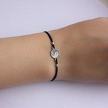 Черный шелковый браслет ИньЯнь с круглой серебряной вставкой