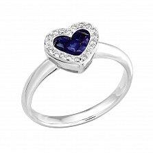 Золотое кольцо Сияющее сердечко в белом цвете с сапфирами и бриллиантами
