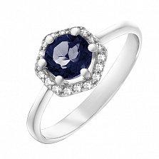 Серебряное кольцо Теодора с гидротермальным сапфиром и фианитами