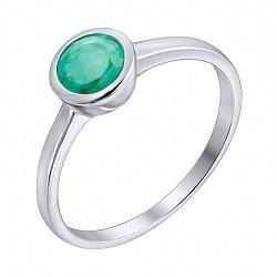 Серебряное кольцо с завальцованным изумрудом 000103053