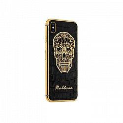 Apple IPhone X Noblesse GOLD PLATED SKULL в черной коже и изображением черепа из серебра и золота