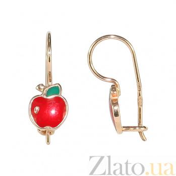 Серьги из красного золота с эмалью Яблочки 2С220-0420