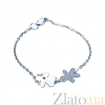 Серебряный браслет с фианитами Влюбленная пара 000027082