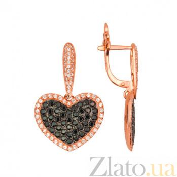 Серьги-подвески из красного золота с черным цирконием Сердце Амура VLT--Т257-3