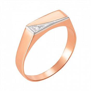 Золотой перстень-печатка в комбинированном цвете с цирконием 000106440