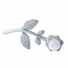 Серебряная брошь Зимний цветок с жемчугом и фианитами