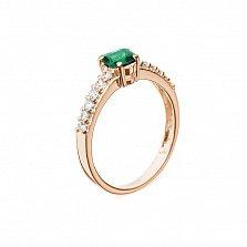 Кольцо в красном золоте Исабель с изумрудом и бриллиантами