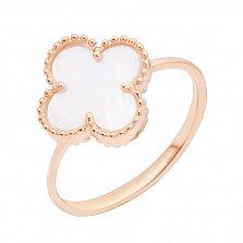 Золотое кольцо Лаки с цветочком и белым перламутром в стиле Ван Клиф