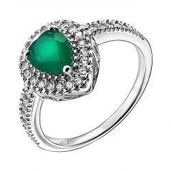 Серебряное кольцо с агатом и фианитами 000137596