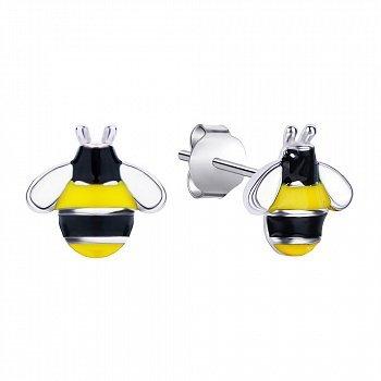 Серебряные серьги-пуссеты Пчелки с желтой и черной эмалью 000095652