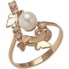 Золотое кольцо Элина с жемчугом и фианитами