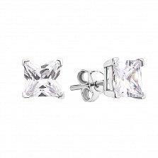Серебряные серьги-пуссеты Принцесса с белыми фианитами