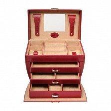 Красная шкатулка Merino с ручкой и выдвижными ящиками на замке