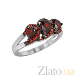 Серебряное кольцо Инара с гранатом и красными фианитами 000081597