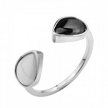 Серебряное кольцо с черной и белой керамикой 000131776