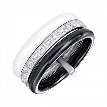 Серебряное кольцо с керамикой и фианитами 000147847