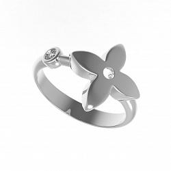 Серебряное кольцо Элегантность с завальцованным фианитом в стиле Луи Виттон