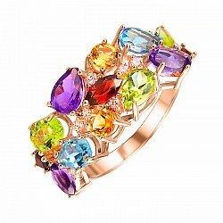 Золотое кольцо с гранатом, топазом, хризолитом, аметистом, цитрином и фианитами 000106123
