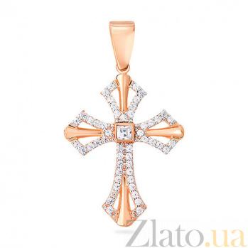 Золотой крестик с фианитами Виктория SUF--440437
