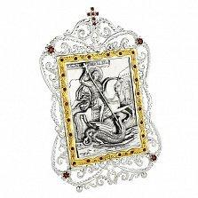 Серебряная икона с фианитами Георгий Победоносец