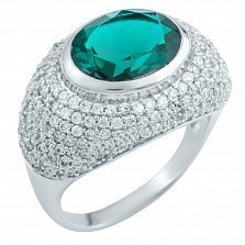 Серебряное кольцо Клодина с синтезированным изумрудом и фианитами