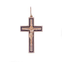 Крестик из серебра Пастырь в позолоте с эмалью 000057133