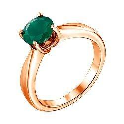 Кольцо в красном золоте Луиза с зеленім агатом