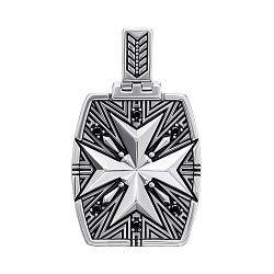 Серебряная подвеска с черной эмалью и черными фианитами 000137607