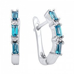 Серебряные серьги с лондон топазами и фианитами 000125054